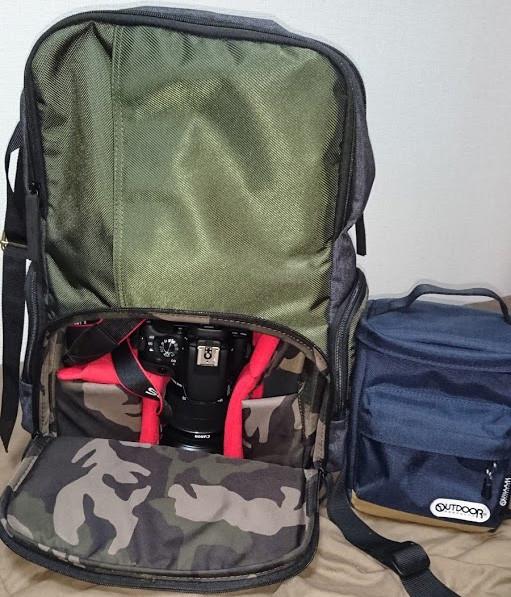 Manfrottoカメラリュック12LとOUTDOORカメラショルダーバッグ3.2Lの比較