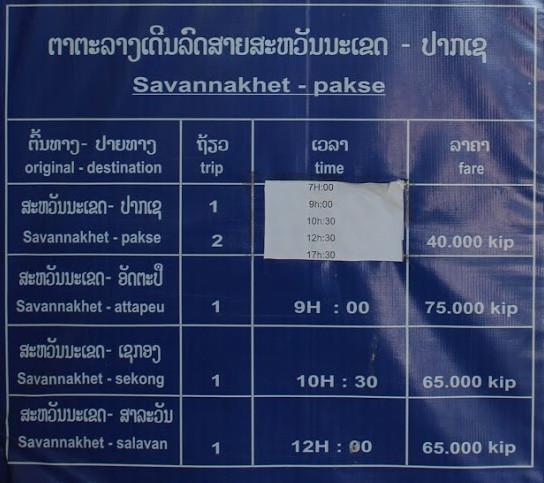Savannakhet - Pakse by bus