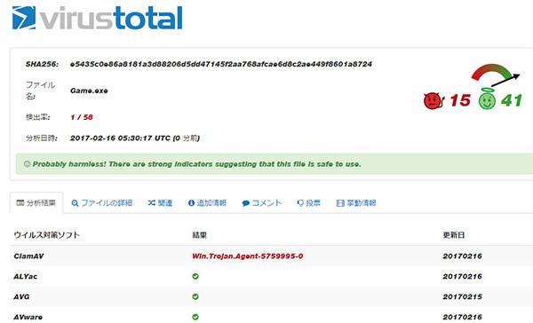 virustotalでウイルスチェックの結果
